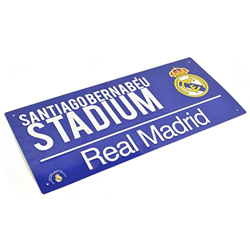 Real Madrid Metal Street Sign Blue Stadium Santiagobernabeu Football Fan Hanging -