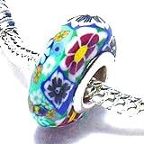 Endearing Charms versilbert grüne Blumen Fimo Bead für Pandora/Troll Charm-Armbänder und Halskettes