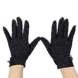 Eizur Été Femme Gants de conduite de protection solaire UV en plein air Dots Anti-glissant Coton dentelle bord Court Gants (Écran tactile/Non-Écran tactile Optionnel)