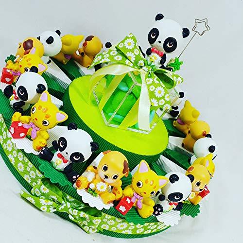 Torta bomboniere animaletti simpatici ideali per bomboniere battesimo nascita bimbo maschietto - torta 20 fette + 20 animaletti + 1 centrale + confetti crispo apr