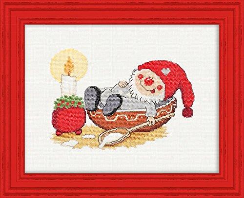 """KAMACA - Bezaubernde Stickpackung """" LUSTIGE WEIHNACHTSWICHTEL """" - Kreuzstich -Bild - reine 100 % Baumwolle - AIDA Stoff - Kreuzstich mit Abzählmuster - Größe 29,5 x 24 cm - zum Selbersticken und komplett zum Sofort-Loslegen - gezählter Kreuzstich - SNOOZY THE ELF"""