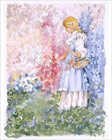 Photographic Print of Young blonde girl picks flowers