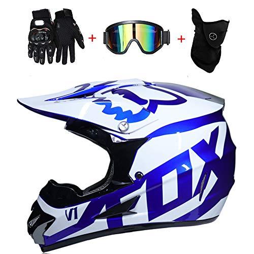 Adult Motocross Casco MX Moto Casco Scooter ATV Casco Road Race D. O. T Fox Certificato con Guanti Maschera Antivento Occhiali (S, M, L, XL),WhiteBlue,M57~58CM