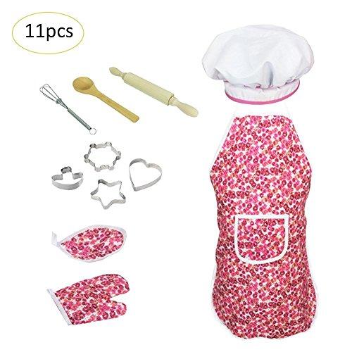 pielzeug Kochen Geschirr Set Backen Werkzeuge Schürzen für Mädchen und Kinder Komplettieren Sie Kinder Kochen und Backen Set 11 Stück für 3 Jahre alte Mädchen und (Boxen Kostüm Diy)