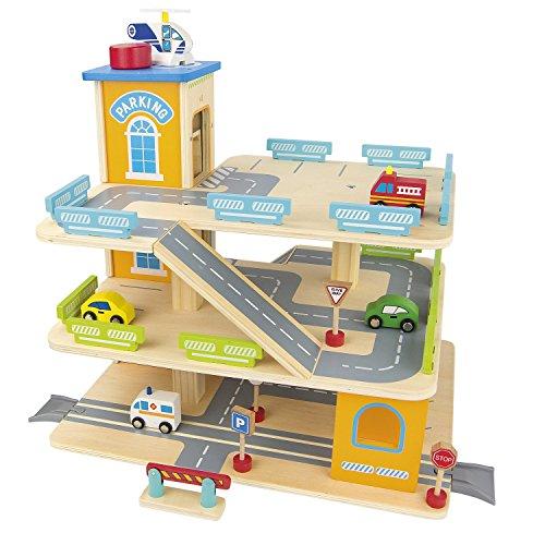 Große Parkgarage Parkhaus Auto Garage aus Holz mit Zubehör, Holz-Spielgarage mit einem Lift, Autos 9 Sportwagen Holzgarage mit 9 Metallautos (Garage Spielzeug)