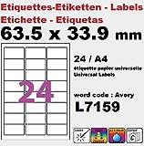 12000 étiquettes 63,5 x 33,9 mm L7159 étiquette multiusage pour imprimante SOIT 500 planches de 24 étiquettes(l7159) Fabricant: univers graphique ® FACTURE AVEC TVA (12000 ex = 500 A4)
