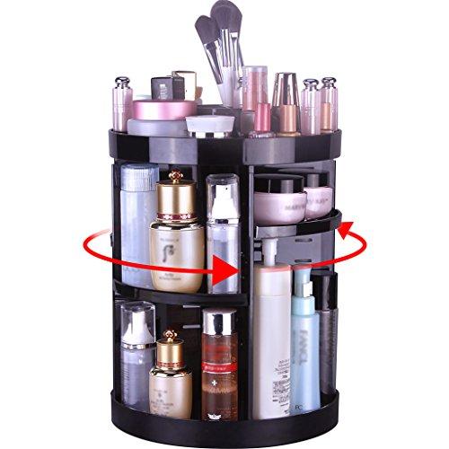 Organisateur Maquillage, Organisateur de Cosmétiques Rotatif à 360° avec Étagère en Plastique Boîte de Ranger de Beauté, Maquillages, Parfums, Bijoux