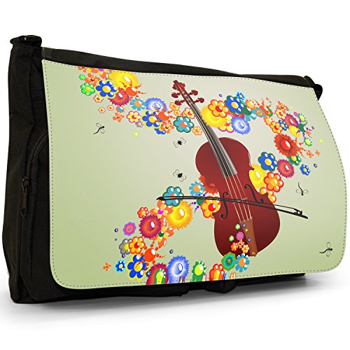 Fancy A Bag Borsa Messenger nero Mahogany Cello Violin & Bow With Flowers and Music