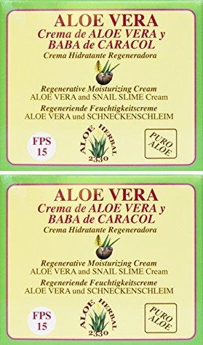 Foto de Aloe Herbal 2330 Crema hidratante regeneradora de Aloe Vera y baba de caracol 200ml x 2 unidades