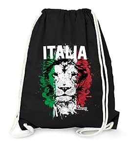 Turnbeutel EM WM Italien Löwe Flagge Italy Lion Flag Fußball Gymbag MoonWorks® schwarz unisize