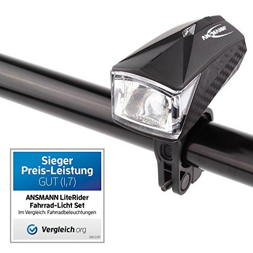 ANSMANN LiteRider StVZO Fahrradlicht Beleuchtungsset/Fahrradlampen/Hochwertiges LED Lichtzubehör für Fahrrad oder Mountainbike mit Vorder- & Rücklicht & 2 Halterungen/Spritzwasserfest - 2