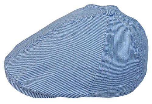53% Leinen (Cool4 Kinder Leinen 6-Panel Flatcap Blau Weiß Gestreift Schiebermütze Sonnenschutz A14 (53))