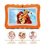 A1 Tablette Tactile Enfants 7 Pouces Android 6.0, Tablette PC avec Manchon en Silicone - Quad Core 2 GO de Ram+32 GO de Rom, IPS 1280x800, Double Caméra, Tablette avec Wifi, 3G, Bluetooth, Google Play