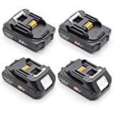 LENOGE 4 Packs 18V 2.0Ah BL1820 Batteries for Makita BL1840 BL1830 BL1830B BL1860 BL1815 BL1850 BL1845 196399-0, Fit for BCS550 BFR550 BGA452 BHP451 BTW251Z BJV180 BHP453 BHP454 Power Tool Rechargeable Li-ion Battery