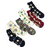 6 Paare Frauen Obst Socken Fun Crew Socken Neuheit Patterned Socken aus Baumwolle Banana Ananas Kirsche Lemon Avocado Söckchen