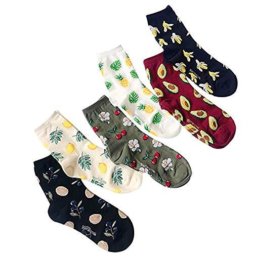 6 Paare Frauen Obst Socken Fun Crew Socken Neuheit Patterned Socken aus Baumwolle Banana Ananas Kirsche Lemon Avocado Söckchen - Sechs Söckchen