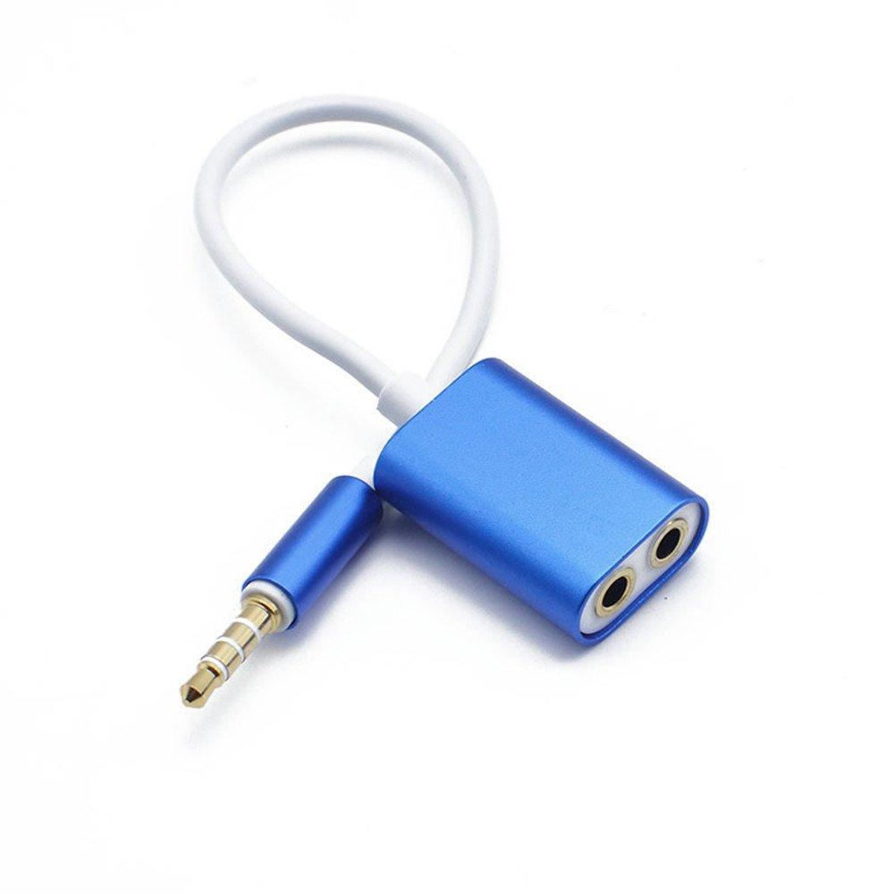 Distinct® Alluminio Lega 3,5mm 2 in 1 Auricolare Cavo Audio Aux Convertitore Blu