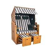 2-Sitzer Strandkorb Hörnum mit Fußablagen - inkl. Nackenkissen und Kuschelkissen Set - Ideal für Garten, Terrasse oder Balkon (Geflecht - Natur, Grün-Grau - Blockstreifen) -