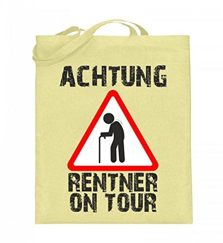 Hochwertiger Jutebeutel (mit langen Henkeln) - Achtung Rentner on Tour Zinkgelb