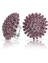 Bling Jewelry Purple Crystal Starburst Clip sur Boucles d'oreille plaqué rhodium