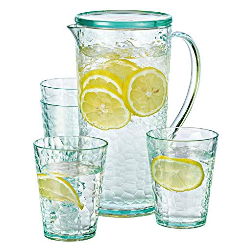 Water Jug with Lids Elegear Plastic Jugs with 4 Cups 1.6 L Fridge Jug Perfect for Fruit Juice, Iced Tea and Cold&Hot Water (Green)