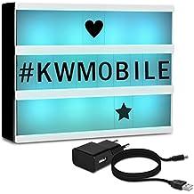 kwmobile Lightbox luminoso cambia colore - illuminazione in 7 colori con 126 lettere nere - Lavagna luminosa luce LED A4 - Light box USB e batteria