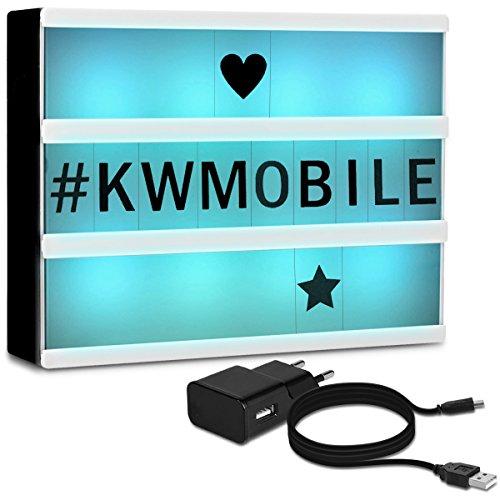 kwmobile Farbwechsel LED Lichtbox A4-7 Farben 126 Schwarze Buchstaben USB Netzteil - Cinema Lightbox - Deko Licht Leuchtkasten - Light Box Leuchte -