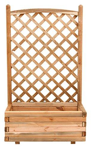 Fioriera con pannello grigliato in legno cm 40x80x180h giardino recinzione