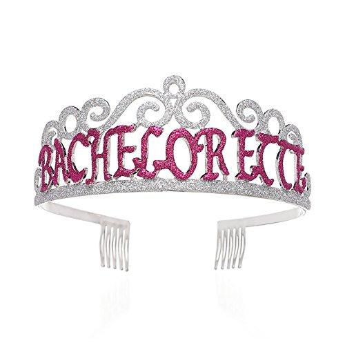 SWEETV Zukünftige Braut Diadem Rosa Brautduschen Krone Bachelorette Party Hut Kopfschmuck mit Haarkämme