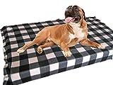 KosiPet® Large Deluxe High Density Foam Mattress Waterproof Dog Bed Beds Black/White Check Fleece