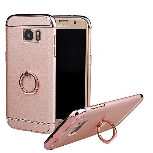 xhorizon FM8 3 in 1 ultra dünn hart Schutz Stilvoll Tasche für Samsung Galaxy S7 Edge mit 360 Grad Drehbar Ring Ständer mit einem 9H Ausgeglichen Glas Film Pink