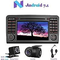 """Android 7.1 Car Autoradio, Hi-azul 2 Din Car Audio 7"""" Navigationssystem Autonavigation Kopfeinheit mit 1024 * 600 Multitouch-Bildschirm und Auto CD DVD Player Moniceiver für Mercedes-Benz ML-W164/ W300/ ML350/ ML450/ ML500/ GL-X164/ G320/ GL350/ GL450/ GL500 Unterstützung, WiFi, Mirror-link, Lenkradkontrolle, RDS Radio Tuner, Rückfahrkamera Anschluss (mit Rückfahrkamera und DVR)"""