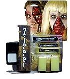 Fancy Me Herren Damen Devil Werwolf Tot Zombie Halloween Spezialeffekte Blutig Reißverschluss Gesichtsfarbe Make-up Satz - Zombie