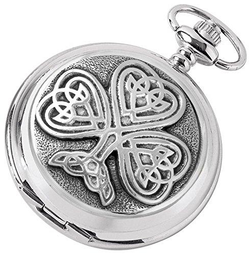 Silver Tree celtica di Chrome Vita ha placcato il doppio completa Hunter tasca di scheletro orologi di Woodford