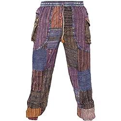 Little Kathmandu - Pantalones tobilleros para Hombre, estampado Patchwork hippie, cintura elástica, con bolsillos multicolor multicolor L