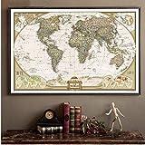 Grande Vintage World Map Ufficio dettagliata Grafico Antico Poster da Parete Retro documento di Carta Opaca Kraft 28 * 18inch Mappa del Mondo