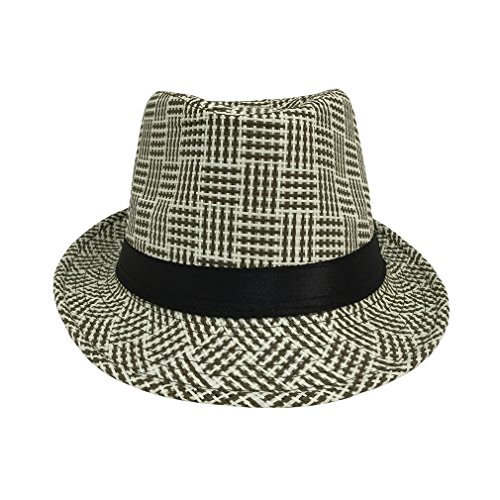 Bigood Chapeau Fedora Femme Paille Panama Chapeaux Jazz Mode Style D