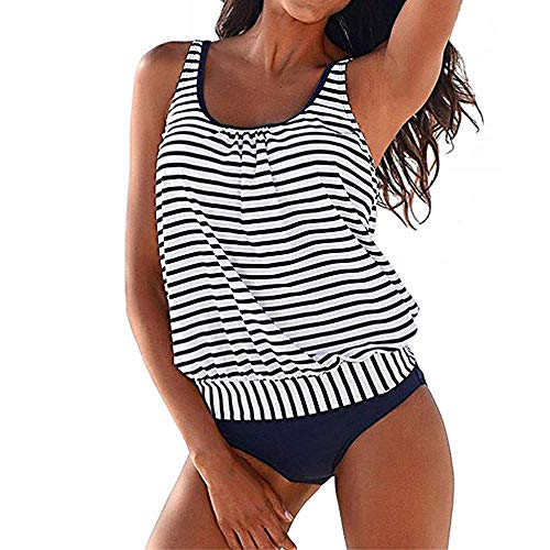 YEBIRAL Oversize Damen Tankini Set Bauchweg Zweiteiler Streifen Badeanzug Weste Schwimmanzug Bademode mit Slips