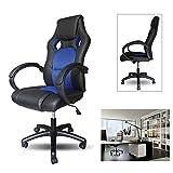 huigou HG Racing Stuhl Bürostuhl Komfort Chefsessel Drehstuhl PU Blau Belastbarkeit 200 kg