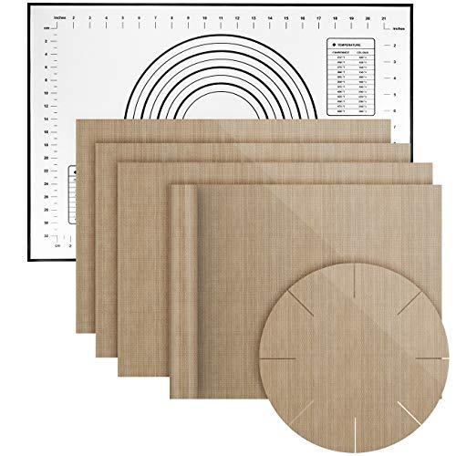 MojiDecor Dauerbackfolie 6er Set, 5 Backpapier(4 x eckig, 1 x rund) mit 1 Silikon Backmatte, Wiederverwendbare Backpapier|Teflon antihaftbeschichte Backunterlage|Dauerbackmatte|Grillmatte|BPA Frei