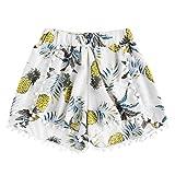UFACE Damen Unregelmäßiger Ananas-Druck der Dame Ananas-Druck-mittlere Taillen-lose kurze Hosen-elastische Taillen-Kurzschlüsse Pan(Weiß,XL/(40))