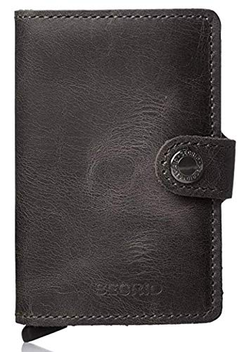 99b5a5c9262 Secrid mini wallet genuine black leather with RFID protection / with one  click all cards slide