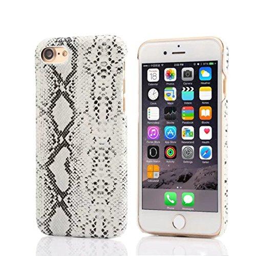 Apple iPhone 7 Plus 5.5 inch Coque Protection Case, Original Désign imité Peau de Serpent Apparence Serie Divers Couleur Mince Poids Léger Joli Dur Housse de protection blanc