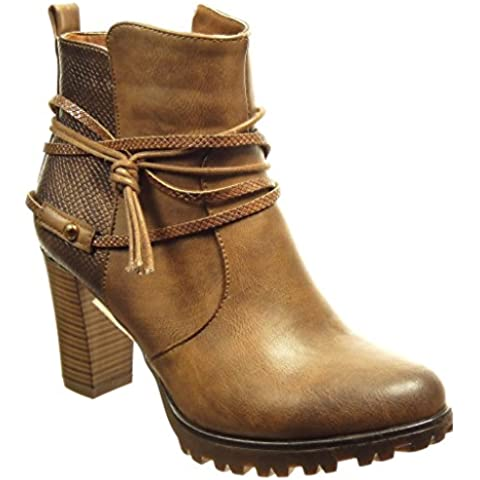 Angkorly - Zapatillas de Moda Botines low boots zapatillas de plataforma mujer piel de serpiente tanga Talón Tacón ancho alto 8 CM - plantilla Forrada de Piel -