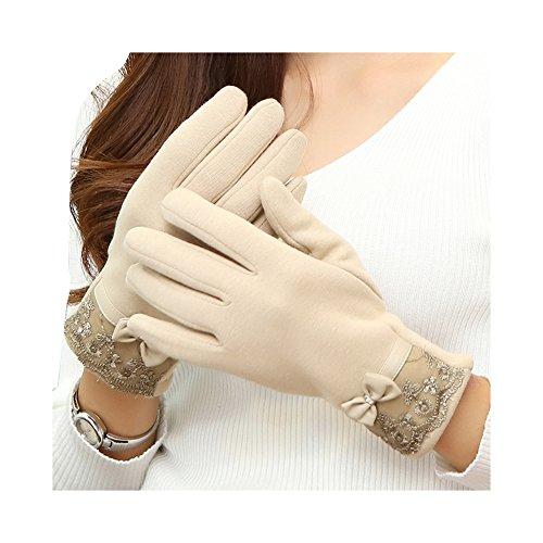 Dentelle Bow femmes hiver gants dames filles écran tactile gant de laine Blanc