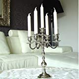 Kerzenleuchter, Kerzenständer, Kerzenhalter, Kandelaber 5-armig, silberfarbig, mit Glasaufsätzen für Teelichter, Metall, H: 35 cm, festlich & edel