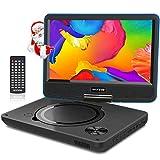 WONNIE 11.5' Lecteur DVD Portable avec écran Rotatif de 9,5' à 270°,Carte SD et Prise USB avec Charge directe Formats/RMVB / AVI / MP3 / JPEG, Parfait pour Enfants (Bleu)