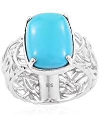Sleeping Beauty Turquoise Solitaire Ring in Platinum Over Silver 5.5 Ct