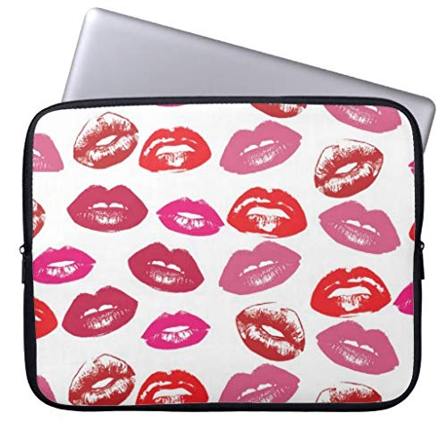 qidushop Cool Vintage Retro Girly Hot Pink Red Glossy Lips 10 10.8 Inch Patterns Neoprene Computer Sleeve for Dell/Hp/Lenovo/Sony