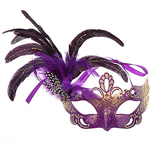 Coofit® veneziano costume di Halloween Masquerade Mask per le donne con la piuma - Piuma Maschera Di Halloween Costume